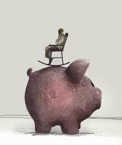 Elderly man sitting in rocking chair on top of large piggy bank