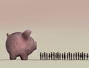 People queuing beside large piggy bank