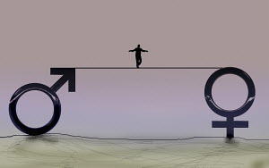 Man walking tightrope between male and female gender symbols