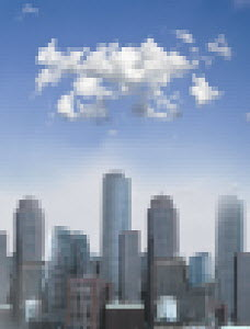 Pixellated cityscape on sunny day