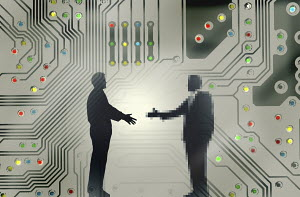 Man shaking hands with pixellated businessman over computer circuit board