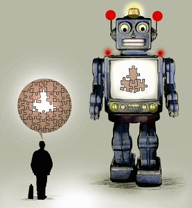 Robot with missing pieces of jigsaw puzzle for businessman