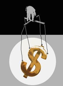 Hand manipulating dollar symbol puppet on strings