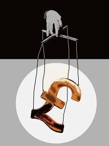 Hand manipulating pound symbol puppet on strings