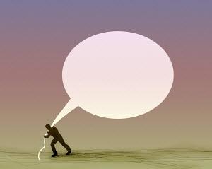 Man struggling to pull large empty speech bubble