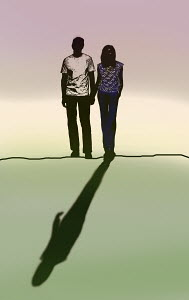 Couple back lit with man's shadow missing
