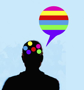 Man thinking and speaking in rainbow colours