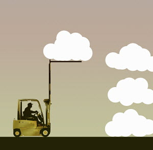 Forklift truck moving clouds into pile