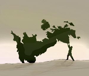 Man struggling to hold up falling United Kingdom map
