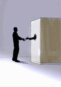 Man shaking hands with anonymous person inside of cardboard box