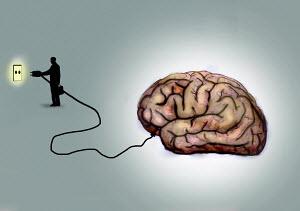 Businessman plugging in large human brain