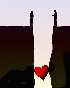 Heart stuck in gap between couple separated on opposite cliffs