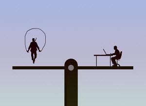 Seesaw balancing man skipping and man working at desk