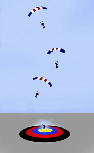 Paragliders aiming for and hitting target