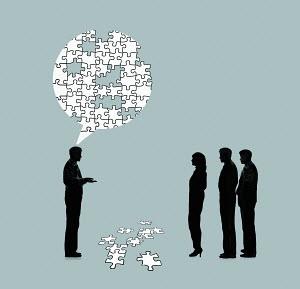 Businessman explaining problem to colleagues