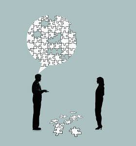 Man explaining problem to woman