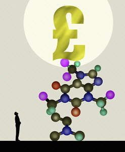 Man looking up at pound sign on top of molecular model