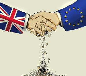 British hand crumbling in handshake with European Union