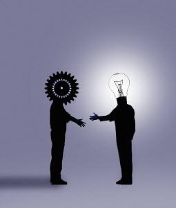 Cog businessman shaking hands with light bulb businessman