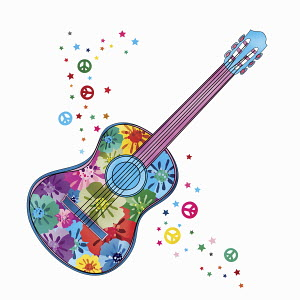 Flowers painted on guitar and peace signs on white background