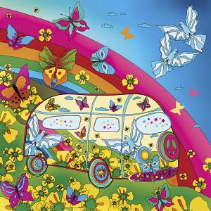 Butterflies and rainbow surrounding hippy van