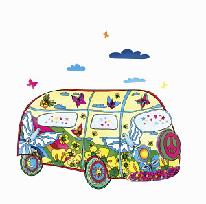Nature scene and peace sign painted on hippy van
