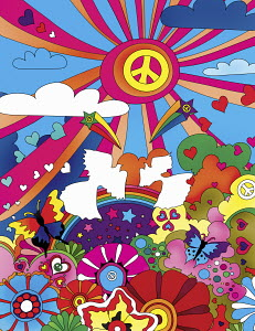 Multicolored pattern with love and peace symbols