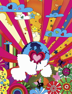 Multicolored pattern with globe, heart shapes and doves