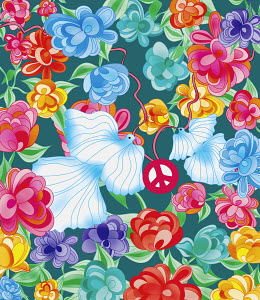 Doves with peace sign surrounded by vibrant flowers