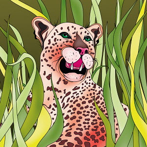 Pink leopard laying in tall grass