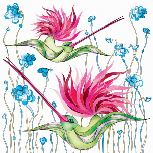 Flamboyant hummingbirds with pink tails flying through flowers