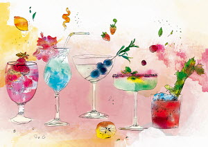 Row of different tropical alcoholic cocktail drinks