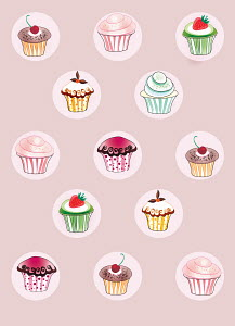 Pattern of cupcakes on pink background