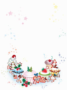 Blank invitation with border of Christmas cupcakes and cookies