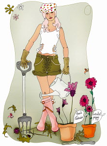 Young woman gardening with garden fork and watering can