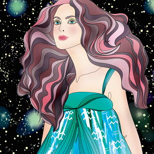 Beautiful woman at night wearing pattern of astrological sign Aquarius