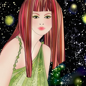 Beautiful woman at night wearing pattern of astrological sign Leo
