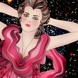 Beautiful woman at night wearing pattern of astrological sign Libra