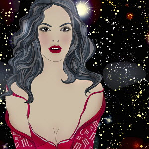 Beautiful woman at night wearing pattern of astrological sign Scorpio