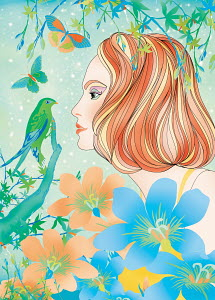 Beautiful woman with bird and butterflies