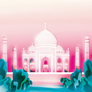 Taj Mahal on pink background