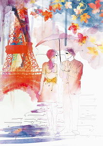 Romantic couple walking in autumn under umbrella near Eiffel Tower