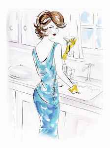 Brunette woman wearing evening gown and drinking martini while doing dishes