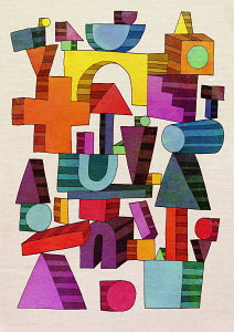 Multicolored geometric shapes balancing