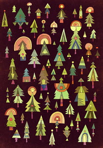 Pattern of multicolored christmas trees