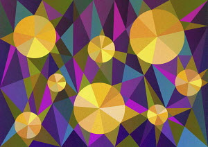 Abstract pattern of yellow pie charts on multicolored background of geometric shapes