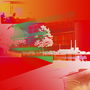 Vibrant abstract of building and factory