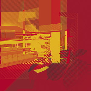 Vibrant abstract of office building