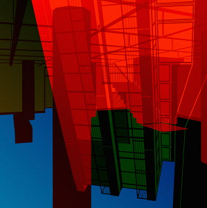 Abstract multicolored architectural shapes