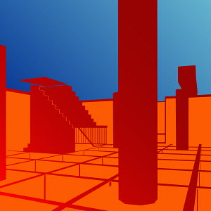 Abstract red architectural shapes on blue background